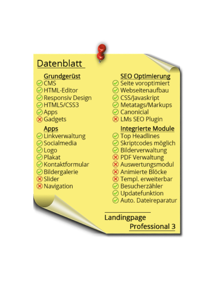 LMs CMS Landingpage Professional 3 - Datenblatt