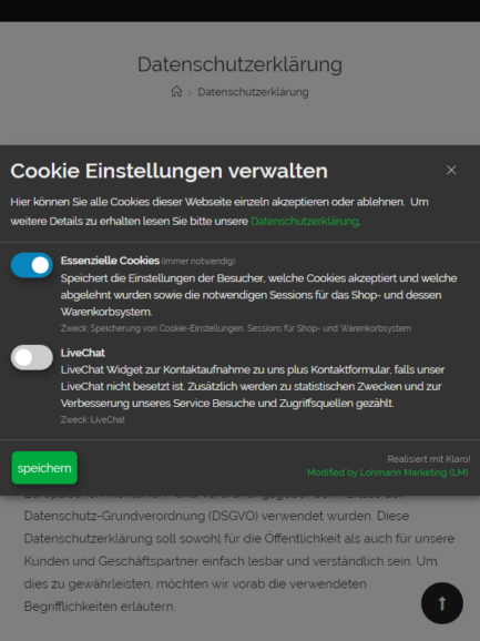 Cookie Consent Plugin für Webseiten